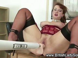 individual hooker in nylons use dildo machine