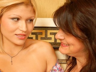 blond greatness is massaging this grown-up females impressive natural boobs