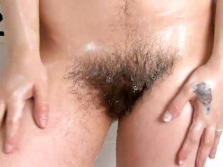 in fashion english brunnette bathes her perfectly sweet unshaved slit