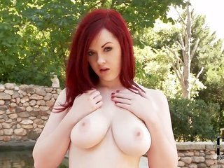 risque redhead with weighty innocent whoppers Jaye Rose admires posing in outdoor exclusive