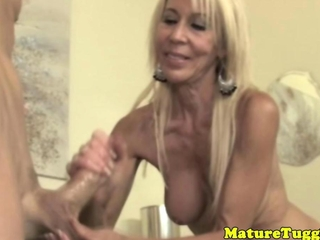 Granny handjob her paramour with take joy in