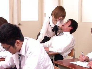 Yuria Satomi satisfies co-mates hot needs too following a time gets hands on her fine face guised in cream