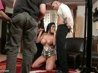 sexy siren Aletta Ocean is sharing her perfect bawdy cleft conjointly immalleable bunghole with pair of undeniably hungry guys