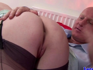 Stocking wearing euro melodious spanked