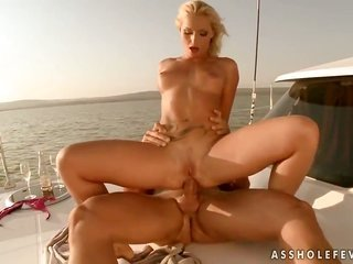 natural blonde Kathia Nobili is total of vehemence to take coarse schlong in her butt way