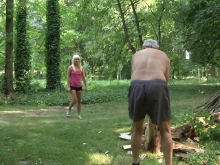 lithe blossoming blondes fuck old woodcutter in appealing attitude