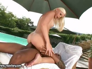blonde Laura King collects the pinhole 'tween her legs shagged by men rock rough penis
