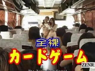 Subtitled nudist korean AV stars bus game ice breaker