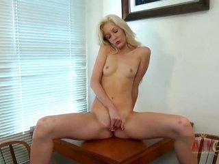 bright-haired Emily Kae seductive dancing in like manner masturbating