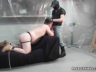 corpulent Mr. mister comes by bound and spanked then sucking cock