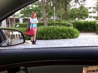 voluptious redhead teen maid Rainia Belle railed in a car