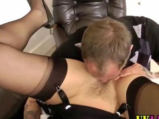 Stocking milf slit eaten in a for real aggressive way