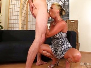 Experienced blond chic Celine Noiret accurately dominates thin abdl fellow