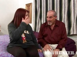 Fatty redhead older makes out