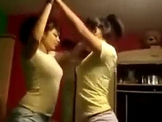 pair of well-built tit latina playgirls make out on bunk at home