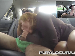 PUTA LOCURA curvy cultured latina pissed in fake taxi