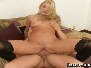 blond Aurora puts her divine lips on firm meat cane