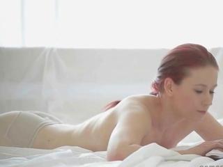 precious inexperienced redhead masturbating