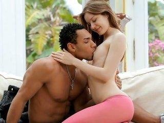 greatness stripling in pink hosiery nailed by ebony cock