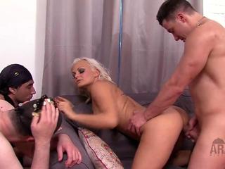 Arab female-dominant cuckold American man using her 2 arab slaves