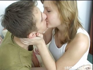 thereon playing with comrade's dick, neat girlie gets fucked well