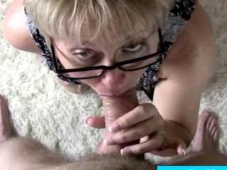 Glasses wearing ripe on knees pov bj