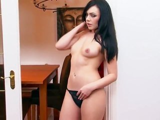 Kacie James with pint-sized tities as well as smooth-faced bitch with horny fuck fissure goes single